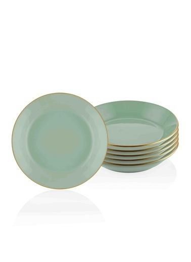 The Mia Basic Yemek Tabağı 6 Lı Set Yeşil - 20Cm Yeşil
